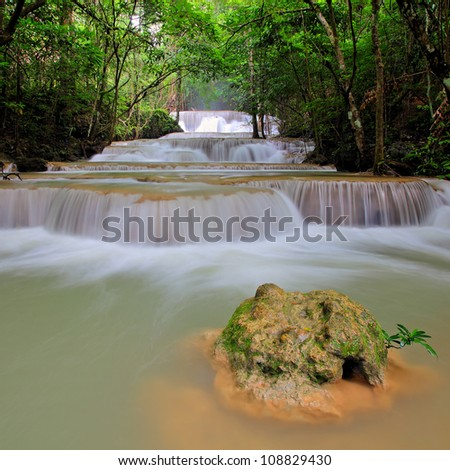 Deep Forest beautiful waterfall ,Huay Mae Khamin Waterfall ,Thailand