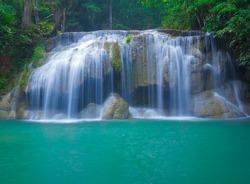 Deep forest waterfall at Erawan waterfall National Park Kanjanaburi Thailand