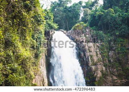 Deep forest waterfall at Haew narok waterfall, Khao Yai National Park, Nakhon Nayok Province, Thailand. #472396483
