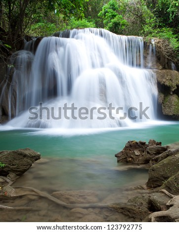 Deep forest waterfall at Huay Mae Kamin National Park Kanjanaburi Thailand