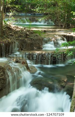 Deep forest waterfall at Huay Mae Kamin National Park Kanjanburi Thailand