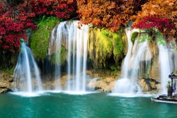 Deep forest waterfall in autumn