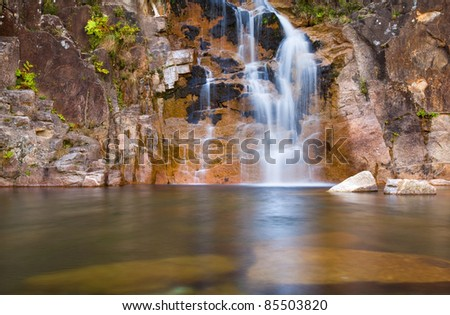 Deep forest Waterfall in Geres national park, north of Portugal.