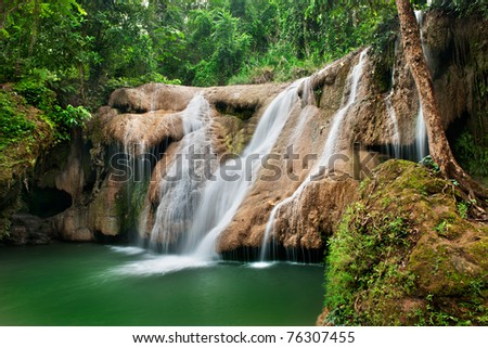 Deep forest Waterfall in jungle of thailand