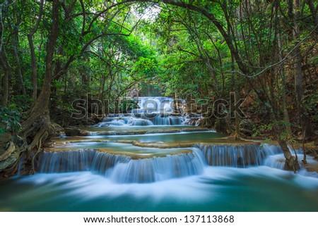Deep forest Waterfall in Kanchanaburi, Thailand #137113868