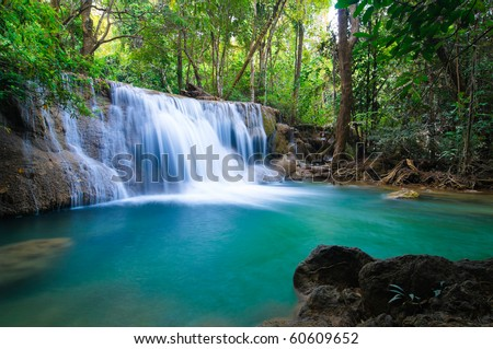 Deep forest Waterfall in Kanchanaburi Thailand
