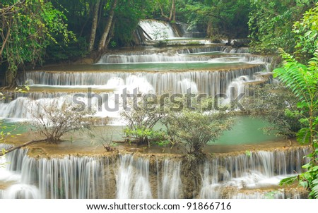 Deep forest waterfall in Kanjanaburi Thailand - stock photo