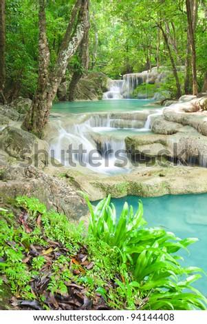 Deep forest waterfall in Kanjanaburi Thailand