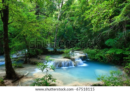 Deep forest waterfall in Thailand (Erawan Waterfall)