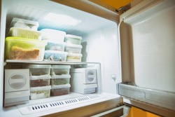 Deep Freeze Interior With Stacked Frozen Foods