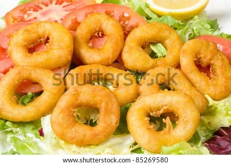 Deep fried battered squid rings, a Mediterranean appetizer