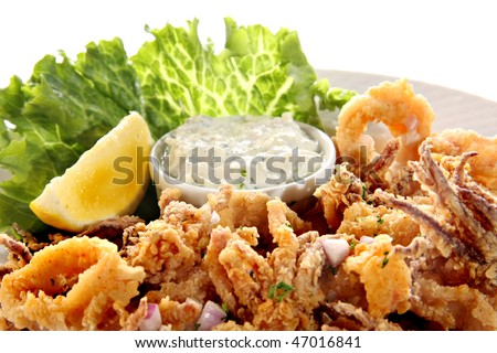 Deep fried Calamari platter.
