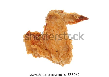 Deep Fried Chicken Wing On White background
