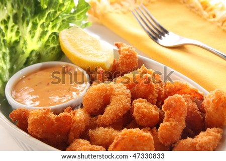 Deep fried shrimp platter, also known as popcorn shrimp. Also available in vertical.