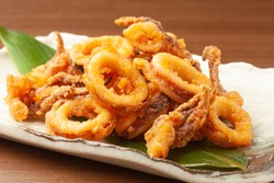 deep fried squids on a plate