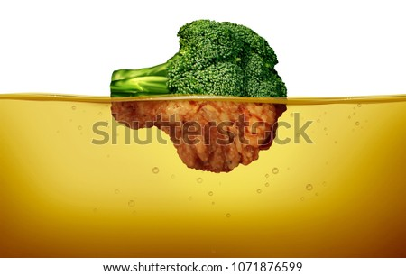 Deep fry cooking and fried food concept as a green raw broccoli and a cooked battered half under hot oil as a cuisine symbol for healthy and unhealthy eating in a 3D illustration style.