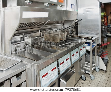 Deep fryer on commercial kitchen