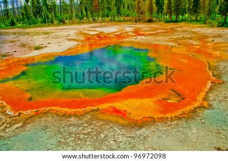 Deep green blue geyser pool in yellowstone national park