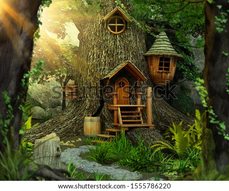 Deep in a distant, hidden, mysterious forest sits an enchanting fairy tree home inside an old white oak,  shrouded in mystery and magic, 3d render