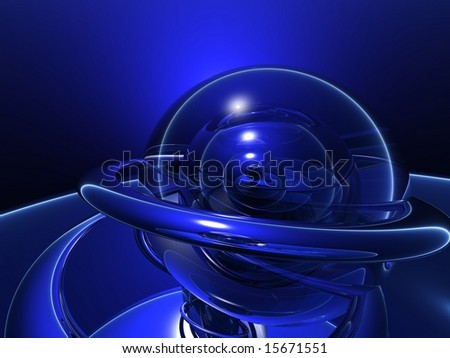 Deep Intense Blue Crystal Ball with Rings