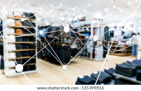 Deep learning , Neural networks , Machine learning and artificial intelligence concept. Atom connect with blur fashion retail shop store background