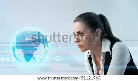Deep look into the future (Attractive young adults in futuristic interfaces / interiors series)