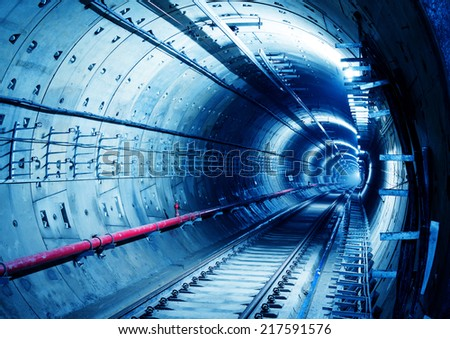 Deep metro tunnel under construction stock photo