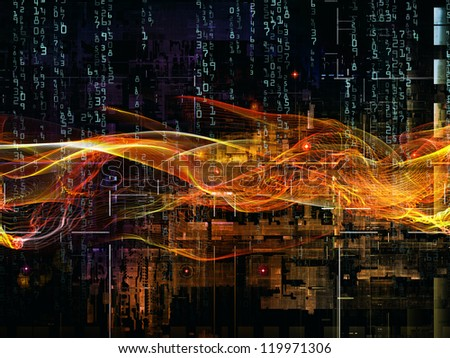 Deep Networking series. Abstract design made of industrial grunge texture, numbers and dark gradients on the subject of computing, industrial design and modern technology - stock photo