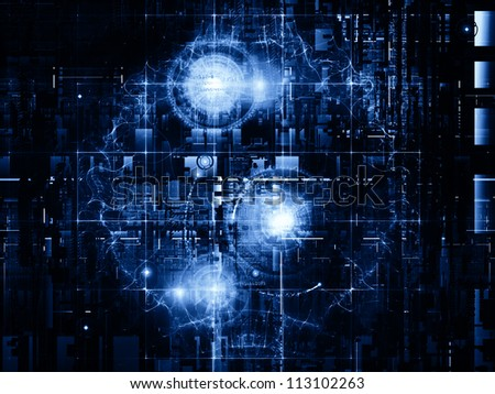 Deep Networking series. Artistic background made of industrial grunge texture, numbers and dark gradients for use with projects on computing, industrial design and modern technology