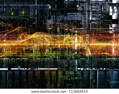 Deep Networking series. Composition of industrial grunge texture, numbers and dark gradients on the subject of computing, industrial design and modern technology