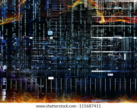 Deep Networking series. Design composed of industrial grunge texture, numbers and dark gradients as a metaphor on the subject of computing, industrial design and modern technology
