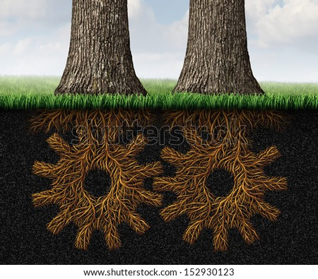 Deep Partnership business concept and financial cooperation symbol as two growing trees with underground roots shaped as gears and cog wheels connected together in a working relationship network.