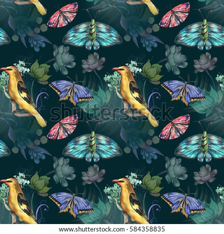 Deep pattern with bird and butterfly
