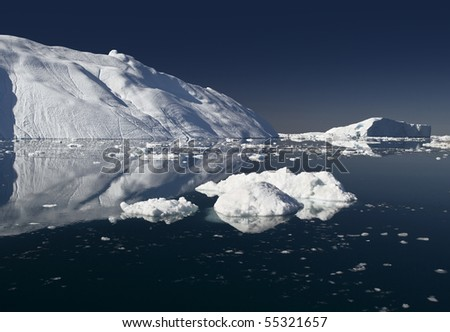 Deep pure waters, ices and icebergs of Greenland