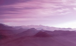 Deep Purple - Beautiful landscape with cascade gradient lilac  mountains at the morning - View of wilderness mountains during foggy weather