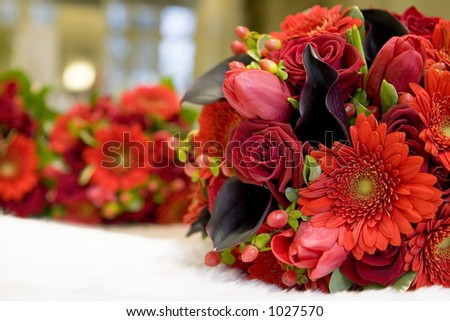 deep red and purple bouquets