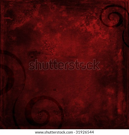 Deep red shabby grunge scrapbook paper background with black swirls