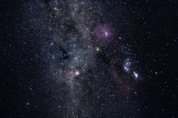 Deep space image containing constellations Orion, Monoceros, Gemini and many bright nebulae and star clusters
