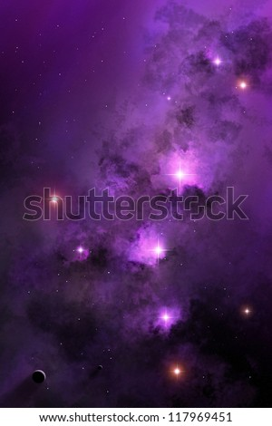 Deep space nebula, starry background