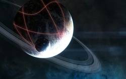 Deep space. Planet with rings. Glowing structures on the planet's surface. Science fiction. Elements of this image furnished by NASA