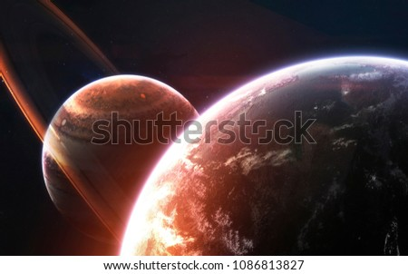 Deep space planets, awesome science fiction wallpaper, cosmic landscape. Elements of this image furnished by NASA #1086813827