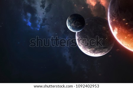 Photo of  Deep space planets, awesome science fiction wallpaper, cosmic landscape. Elements of this image furnished by NASA