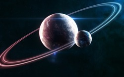 Deep space planets in light of blue and red star. Beautiful cosmic landscape. Science fiction. Elements of this image furnished by NASA