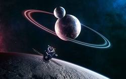 Deep space planets in light of blue and red star. Orbital space station. Science fiction. Elements of this image furnished by NASA