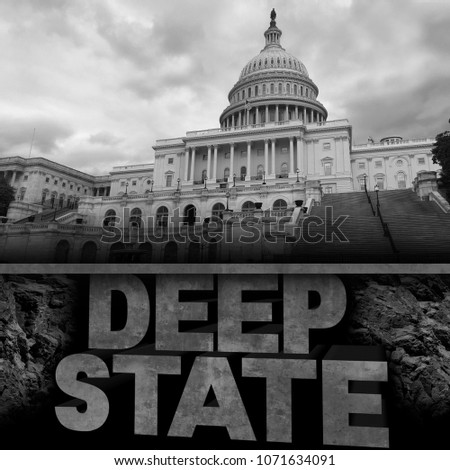 Deep state politics concept and United States political symbol of an underground government bureaucracy with 3D elements. #1071634091