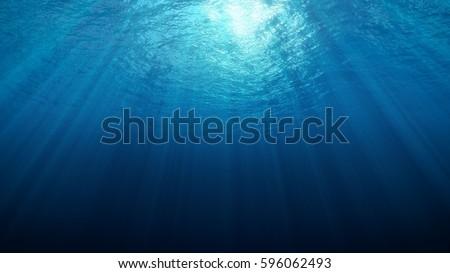 Shutterstock Deep Underwater with Sun Rays 3d rendering