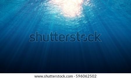 Shutterstock Deep Underwater with Sun Red Rays 3d rendering