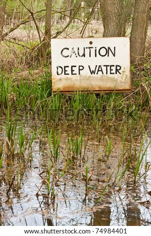 Deep water sign in flooded woodland
