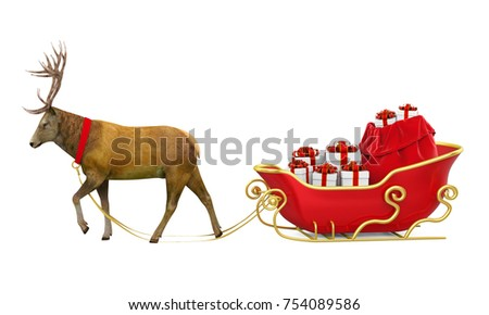 Deer and Christmas Sleigh with Presents Isolated. 3D rendering