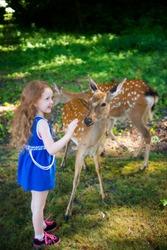 deer and little girl